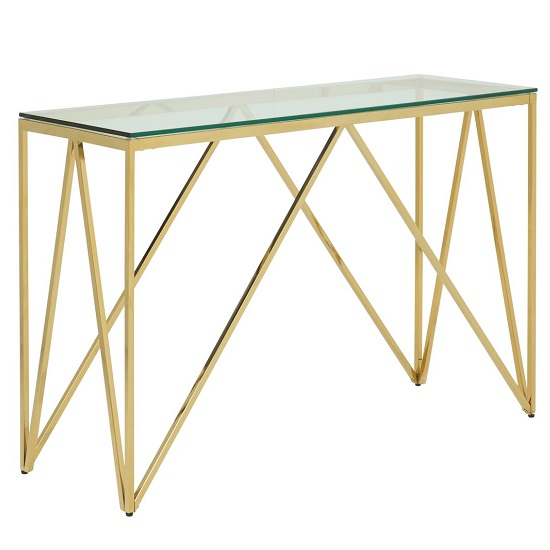 Stirling Glass Console Table Rectangular In Gold Finish Frame