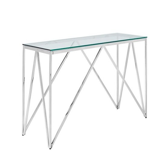Stirling Glass Console Table In Clear With Silver Finish Frame_1