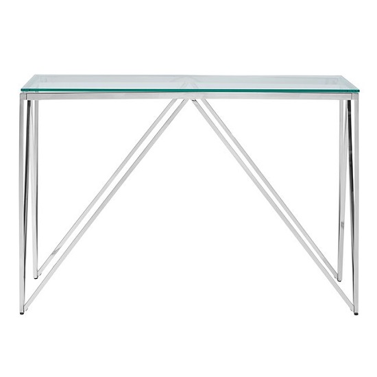 Stirling Glass Console Table In Clear With Silver Finish Frame_3