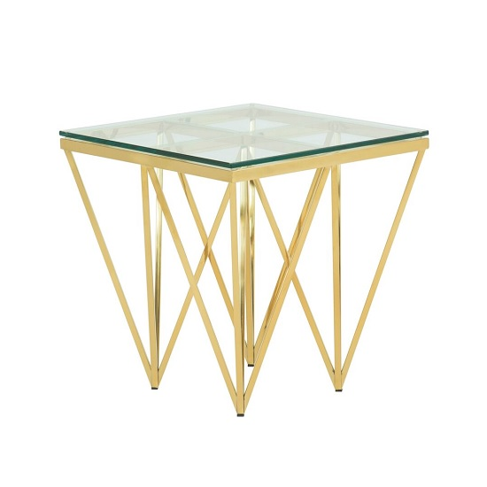 Stirling Glass Lamp Table Square In Gold Finish Frame