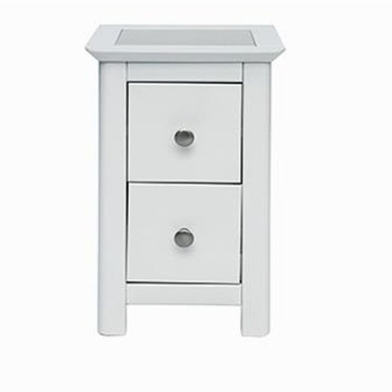 Stirling Petite White Stone Inset Bedside Cabinet With 2 Drawers