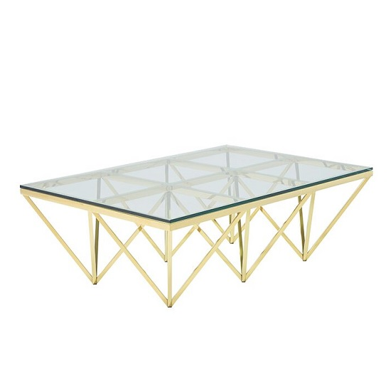 Stirling Glass Coffee Table Rectangular In Gold Finish Frame