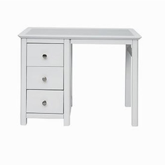 Stirling Single Pedestal Dressing Table In White With 3 Drawers