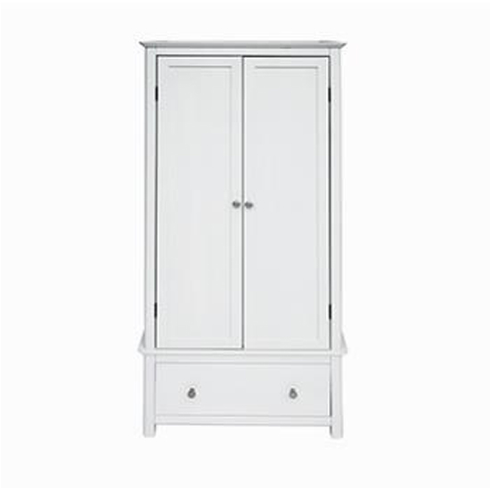 Stirling Wardrobe In White With 2 Doors And 1 Drawers
