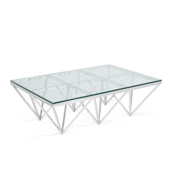 Stirling Rectangular Glass Coffee Table Polished Stainless Steel