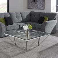 Stirling Square Glass Coffee Table Polished Stainless Steel Base_1