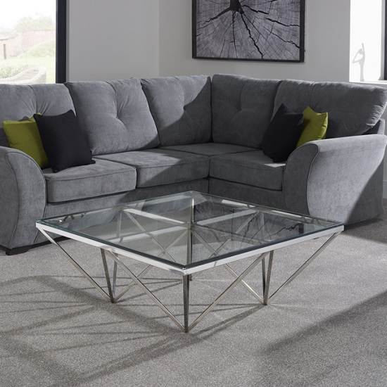 Stirling Square Glass Coffee Table Polished Stainless Steel Base_2