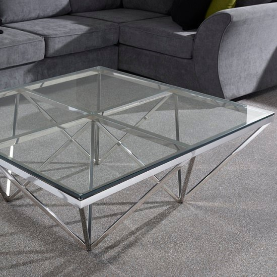 Square Glass And Steel Coffee Table: Stirling Square Glass Coffee Table Polsihed Stianless Steel