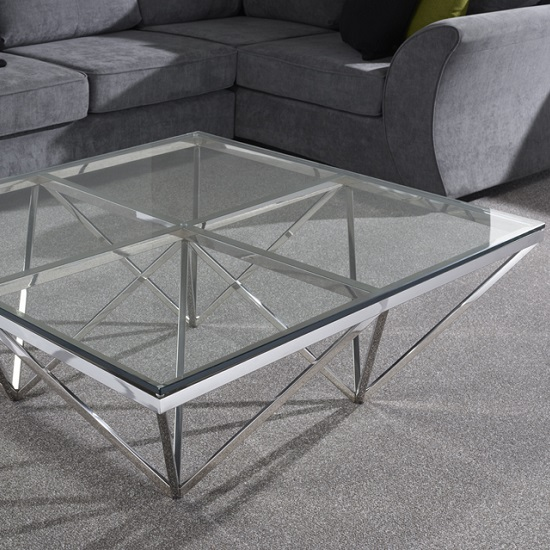 Stirling Square Glass Coffee Table Polished Stainless Steel Base_3