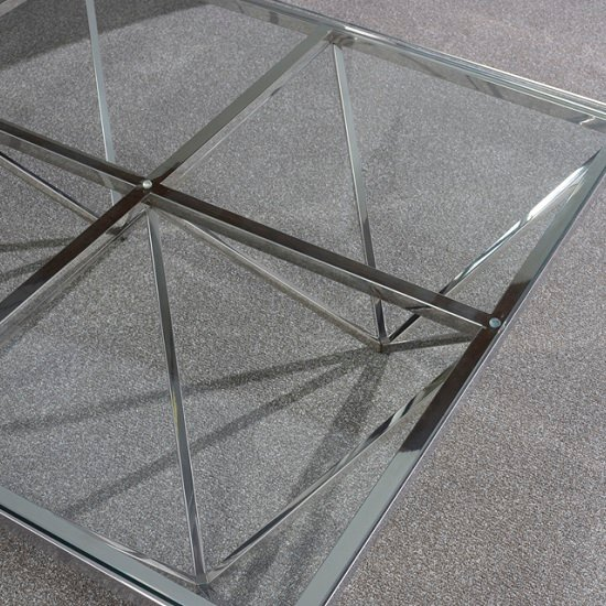 Stirling Square Glass Coffee Table Polished Stainless Steel Base_4