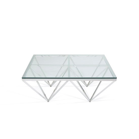 Stirling Square Glass Coffee Table Polished Stainless Steel Base_5