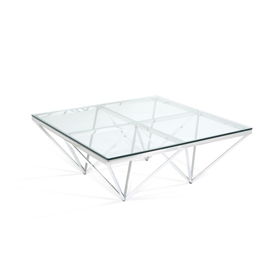 Stirling Square Glass Coffee Table Polished Stainless Steel Base_6