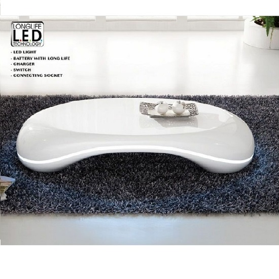 Straas Curved High Gloss Coffee Table In White: Milania Curved High Gloss Coffee Table In White With Led