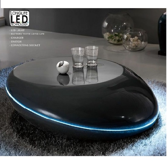 Milania Coffee Table In Gloss Anthracite With LED Lights