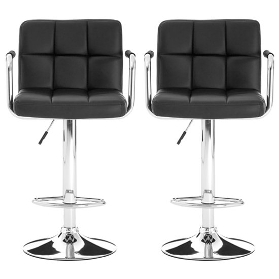 Stocam Black Faux Leather Gas Lift Bar Stools In Pair