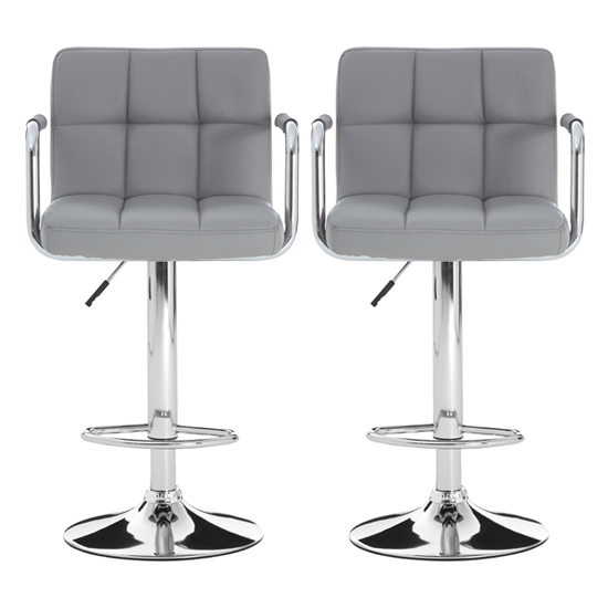 Stocam Grey Faux Leather Gas Lift Bar Stools In Pair