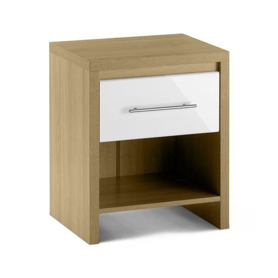 Read more about Elite 1 drawer bedside cabinet in oak and white high gloss