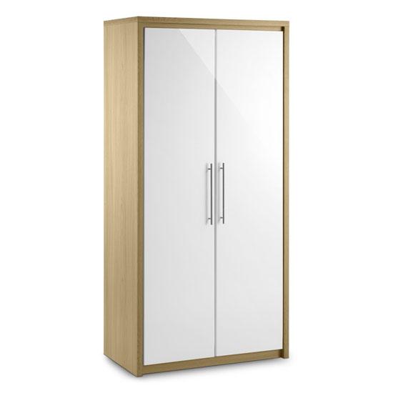 Elite 2 Door Wardrobe in Oak and White High Gloss