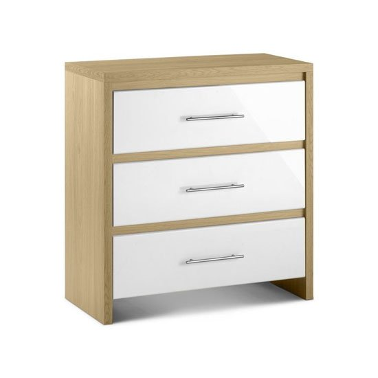 Elite 3 Drawer Chest in Canadian Oak and White High Gloss