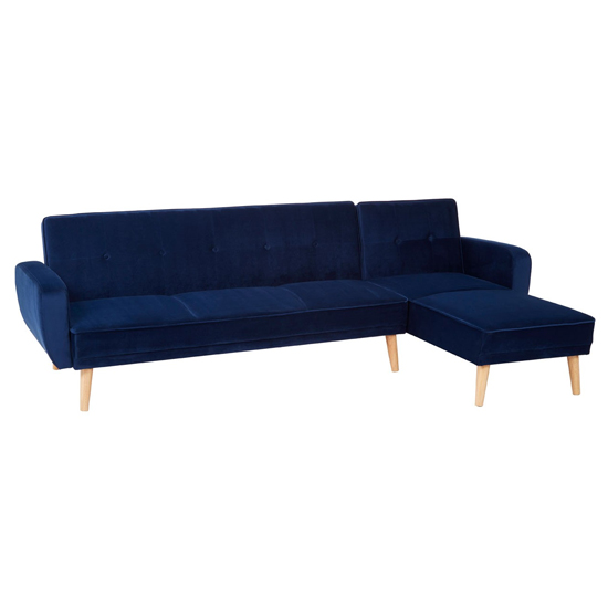 Stockholm 3 Seater Fabric Sofa Bed In Navy Blue