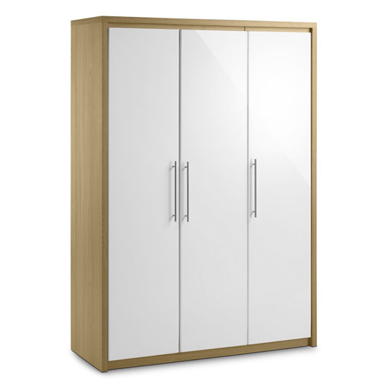 Elite 3 Door Wardrobe in Oak and White High Gloss