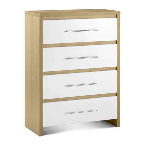 Elite 4 Drawer Chest in Canadian Oak and White High Gloss