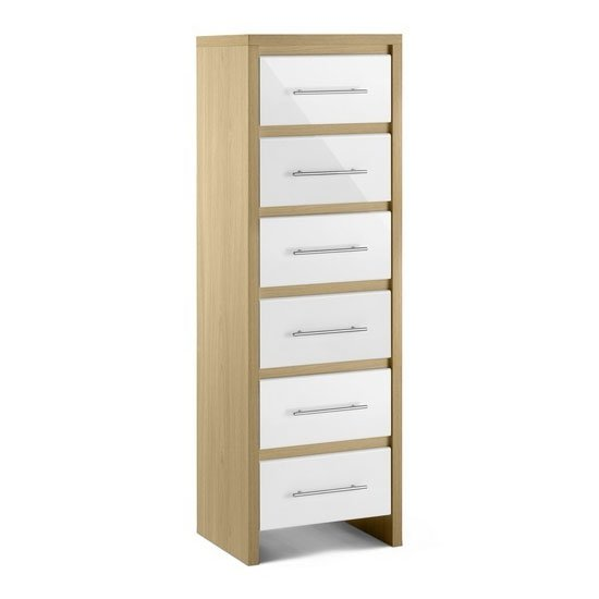 Elite 6 Drawer Narrow Chest in Oak and White High Gloss