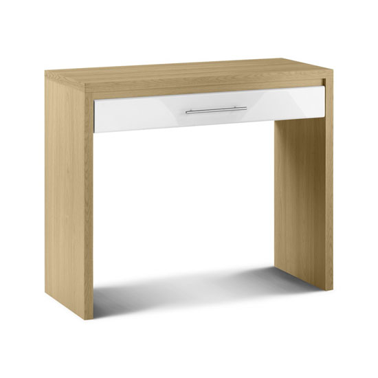 Read more about Elite 1 drawer dressing table in oak and white high gloss