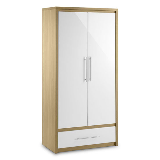 Elite Combination Wardrobe in Oak and White High Gloss