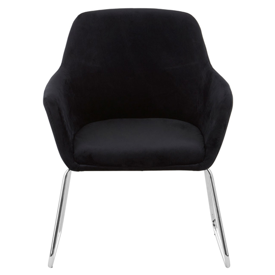 Porrima Fabric Chair in Black With Stainless Steel Legs