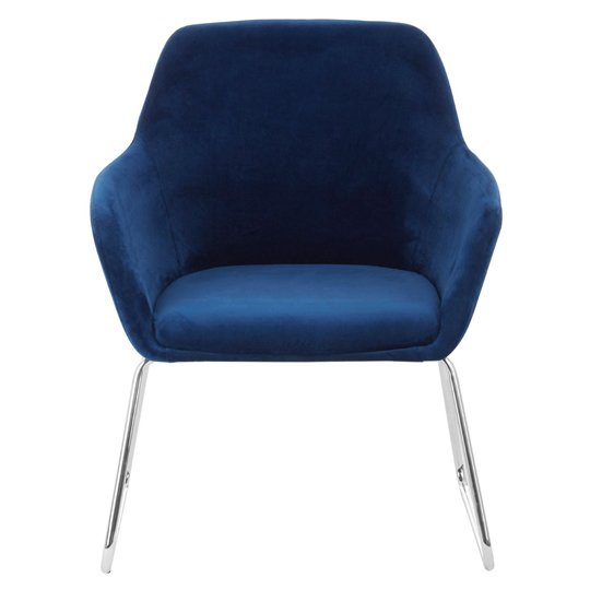 Porrima Fabric Chair in Blue With Stainless Steel Legs