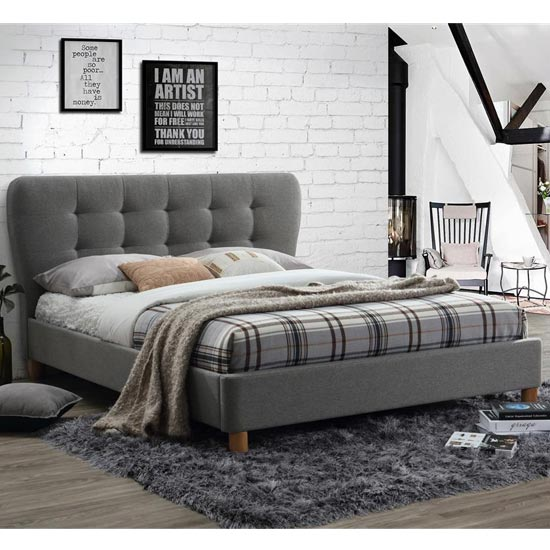 Stockholm Fabric Double Bed In Grey