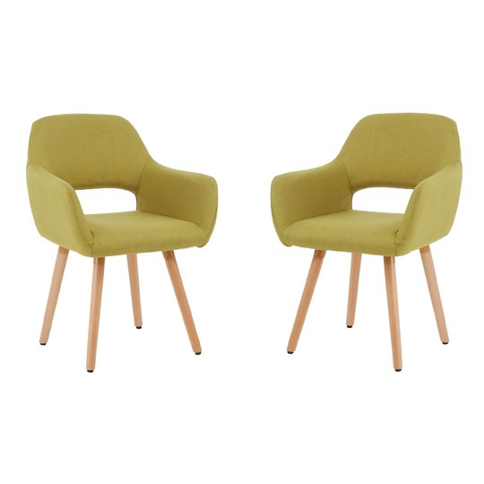 Stockholm Green Dining Chair With Wooden Legs In Pair