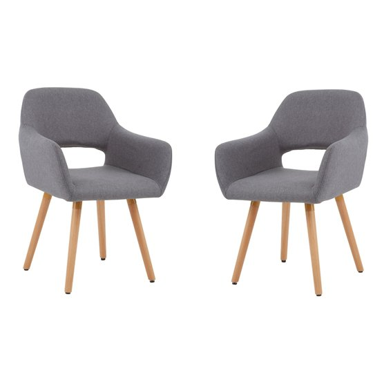 Porrima Grey Dining Chair With Wooden Legs In Pair