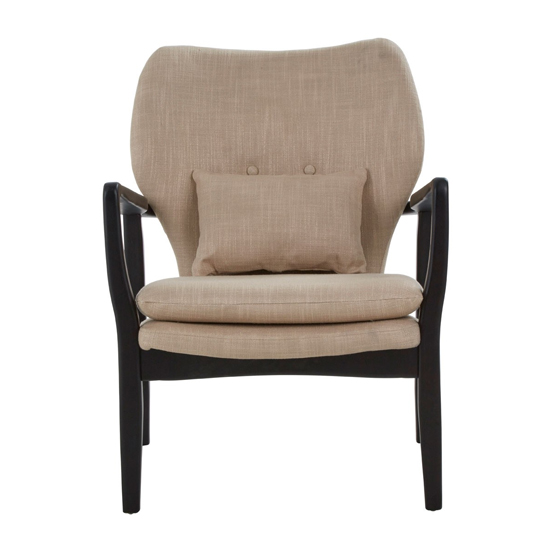 Porrima Lounge Chair In Beige With Black Wooden Frame   _2