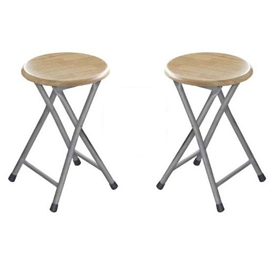 Photo of Hamstring folding stool in natural rubber wood in a pair