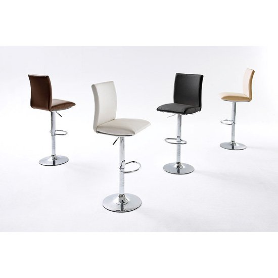 Maike Bar Stool In Faux Leather With Chrome Base