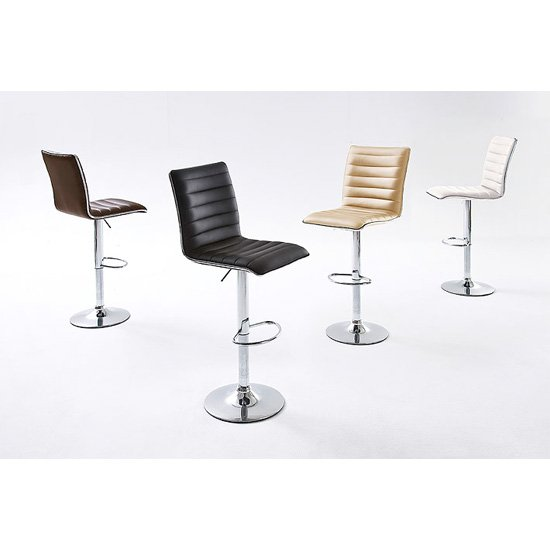 Maren Ribbed Bar Stool In Faux Leather With Chrome Base