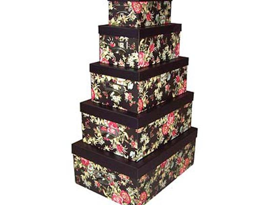 Read more about Set of 5 storage boxes red rose with handle
