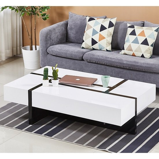 View Storm storage coffee table in white and black high gloss