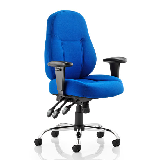 Storm Fabric Office Chair In Blue With Arms