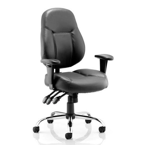 Storm Leather Office Chair In Black With Arms