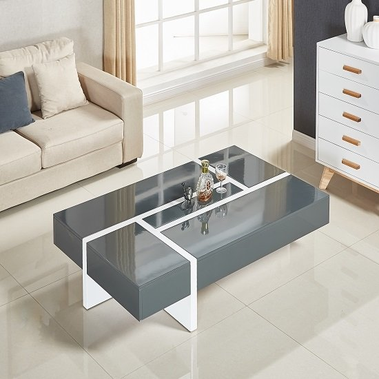 Storm Coffee Table In Grey And White High Gloss With 4