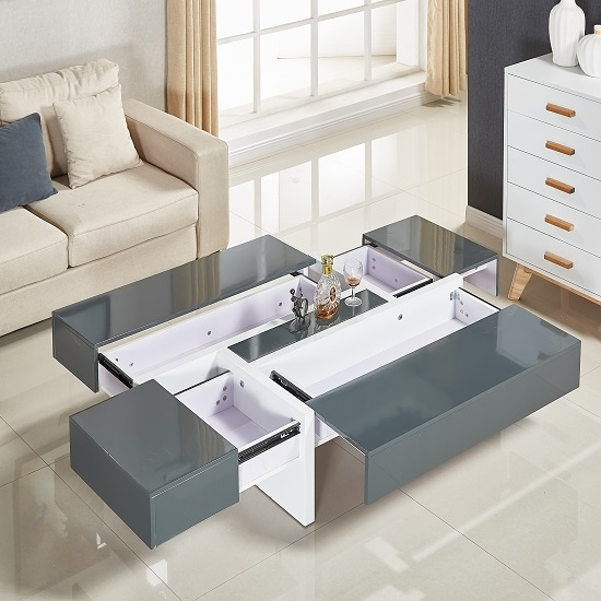Storm Coffee Table In Grey And White High Gloss With 4 Drawers_2