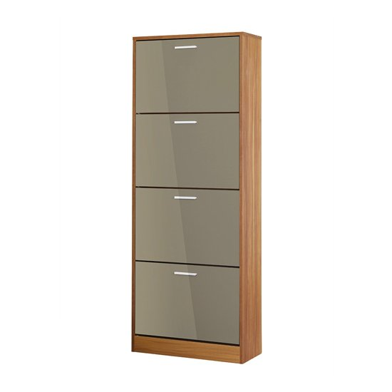 Strand Wooden Shoe Storage Cabinet In Grey High Gloss