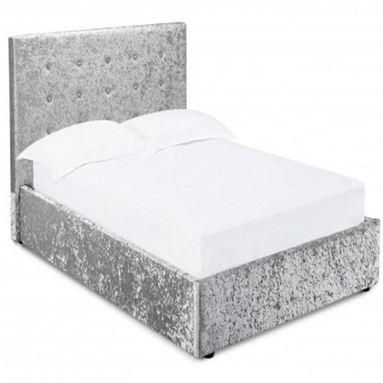 Stratford Double Storage Bed In Silver Crushed Velvet