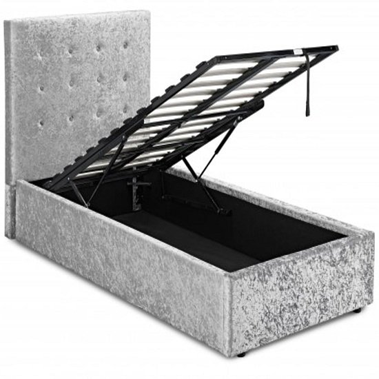Stratford Single Storage Bed In Silver Crushed Velvet_2