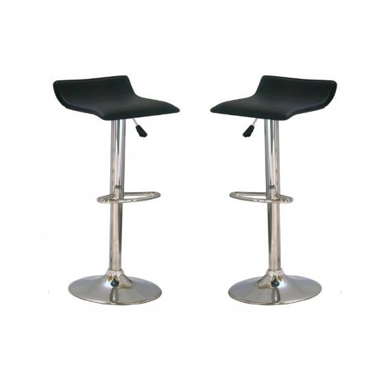 Stratos Bar Stool In Black PVC and Chrome Base In A Pair_1
