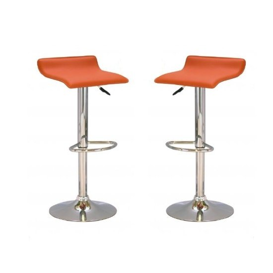 Stratos Bar Stool In Orange PVC and Chrome Base In A Pair