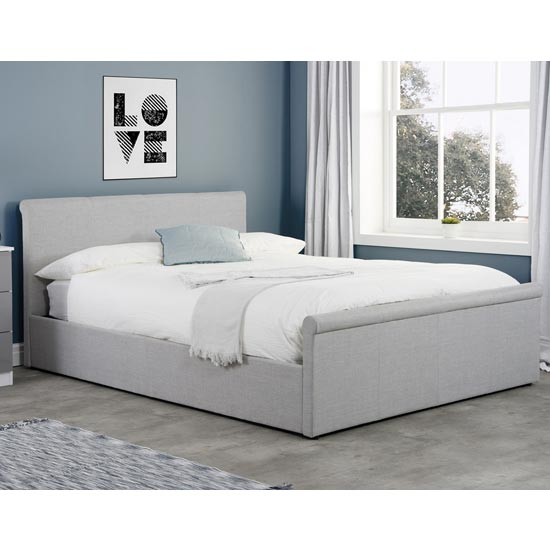 Stratus Side Ottoman Fabric King Size Bed In Grey